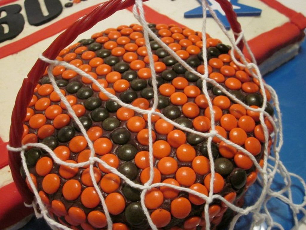 Close-up of Reese's basketball and red licorice hoop